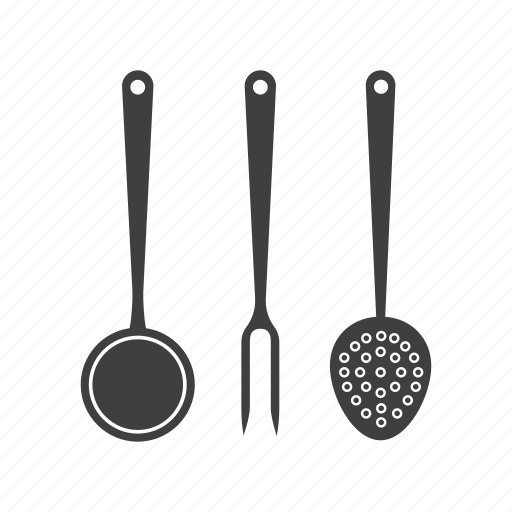 cookware, cutlery, fork, kitchenware, scapula, skimmer, spoon icon