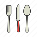 crockery, cutlery, fork, knife, silverware, spoon, tableware icon