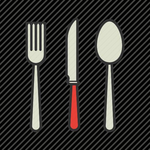 crockery, cutlery, fork, knife, silverware, spoon, tableware icon