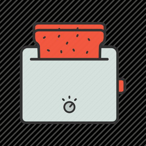 appliance, kitchenware, machine, toast, toaster icon