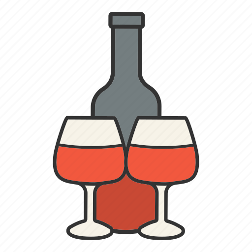 alcohol, bar, beverage, bottle, drink, wine, wineglasses icon