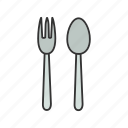 canteen, crockery, cutlery, fork, silverware, spoon, tableware