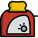 toaster, appliance, kitchen, utensil, food, toast, lineart