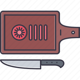 board, chef, cook, cooking, knife, tomato icon