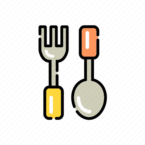 and, cutlery, food, fork, fork and spoon, kitchen, spoon, tableware icon