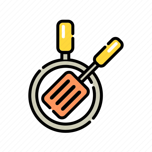 cooking, cookware, fry, kitchen, pan, spatula icon