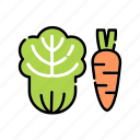 carrot, food, ingredient, kitchen, vegetable, veggies icon