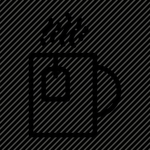 herbal tea, kitchen, line, tea, tea bag, ui, web icon