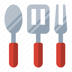 cook, food, fork, grill, kitchen, spatula, spoon icon