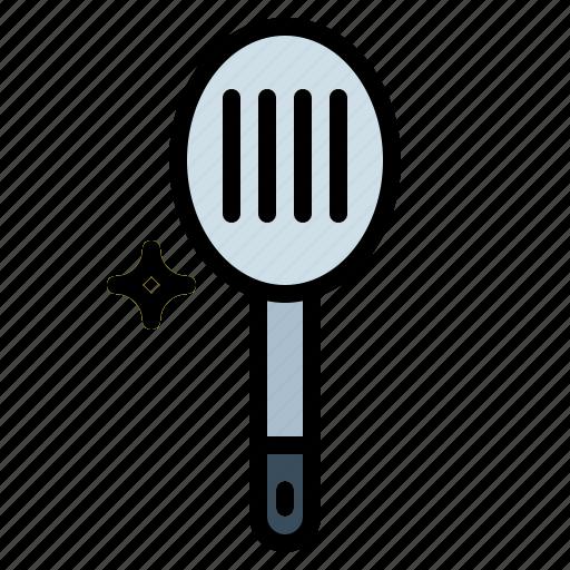 kitchen, slotted, spoon icon