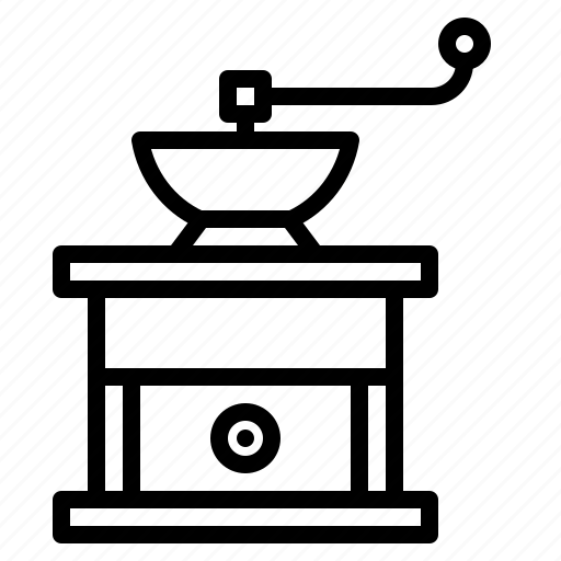 appliance, beans, coffee, grain, kitchen, mill, utility icon