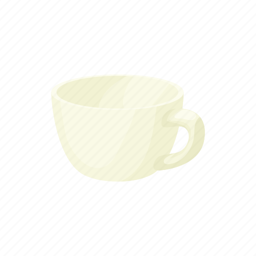cartoon, clean, cup, drink, empty, mug, white icon