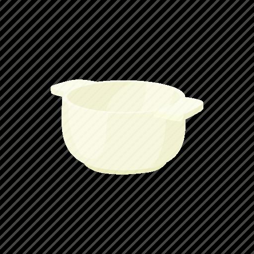 bowl, cartoon, ceramic, dish, handle, nutrition, white icon