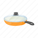 cartoon, empty, handle, kitchenware, lid, orange, pan icon