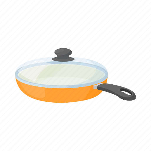cartoon, empty, handle, kitchenware, lid, orange, pan icon