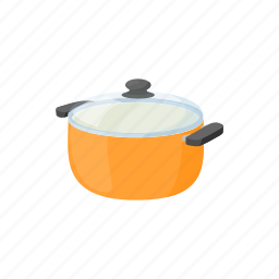 cartoon, cooking, food, lid, pan, pot, white icon