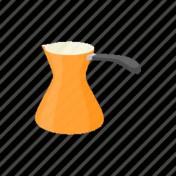 cartoon, cezve, coffee, drink, orange, pot, turkish icon