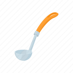 cartoon, handle, kitchen, ladle, metal, tool, utensil icon