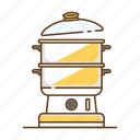 cook, cooking, food, household, kitchen, kitchenware, steamer icon