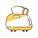 bread, breakfast, household, kitchen, kitchenware, toast, toaster icon