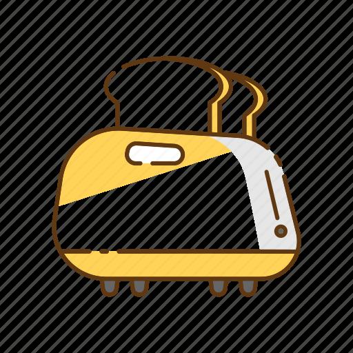 bread, breakfast, household, kitchen, kitchenware, toast, toaster icon