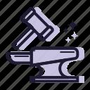 artboard, blacksmith, copy, equipment, hammer, iron, tool icon