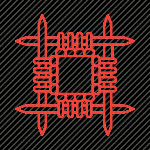 hand, knitting, made, needles icon