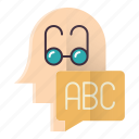 abc, basic, education, head, knowledge, learn icon