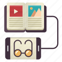 books, knowledge, learning, online, reading, study icon