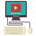 education, knowledge, online, tutorial, video icon