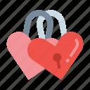 love, padlock, romantic, valentine icon