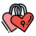love, padlock, romantic, valentine icon