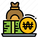 coin, currency, korea, money, won