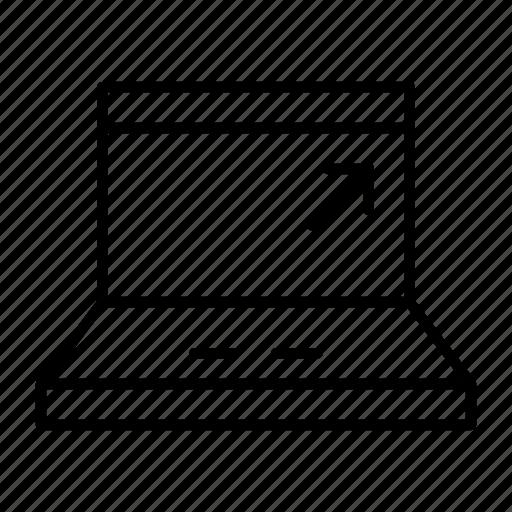 cursor, job, laptop, notebook, work icon