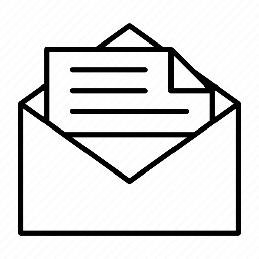 envelope, letter, mail, opened, read icon