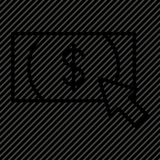 bank, click, cursor, money, note icon