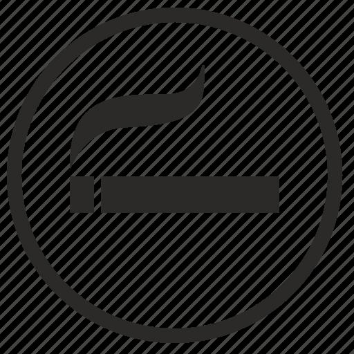 label, place, round, sigarette, smoke, smoking icon