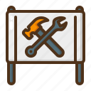 banner, tool, hammer, wrench