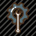 construction, wrench, cogwheel, repair