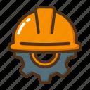 engineer, construction, helmet, cogwheel