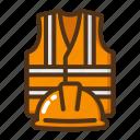 safety, equipment, helmet, vest