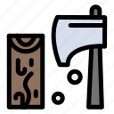 axe, construction, cutting, tool, wood icon