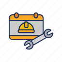 board, day, halmet, labor, labour, wrench icon