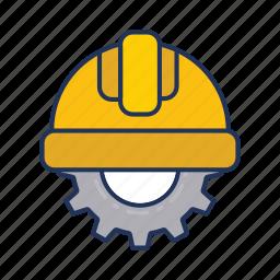 day, gear, halmet, labor, labour icon