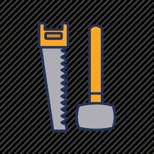 day, hammer, labor, labour, saw icon