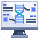 biology, dna, education, electronics, monitor, science, structure icon