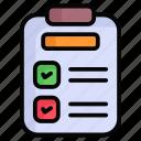 clipboard, document, checklist, report, list, file
