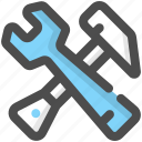 hammer, handyman, tool, work, work tools, worker, wrench icon