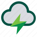 battery, charge, cloud, energy, thunder, weather icon