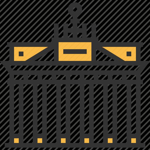architecture, brandenburg, building, construction, gate, landmark icon